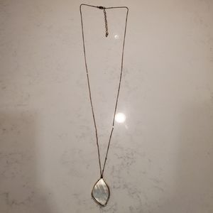 Jewelry - White Mother of Pearl Pendant Long Necklace Preppy